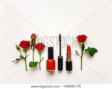 Decorative Flat Lay Composition With Cosmetics And Flowers. Flat Lay, Top View
