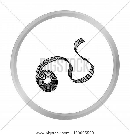 Measuring tape icon in monochrome style isolated on white background. Sport and fitness symbol vector illustration.
