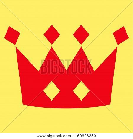 Crown flat icon. Vector red symbol. Pictogram is isolated on a yellow background. Trendy flat style illustration for web site design logo ads apps user interface.