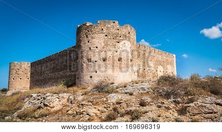 Turkish medieval fortress at Ancient Aptera in Crete, Greece