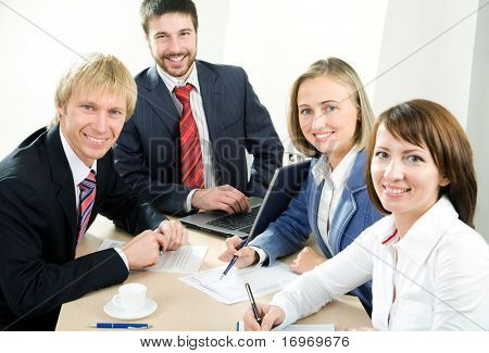 Smiling modern  business people