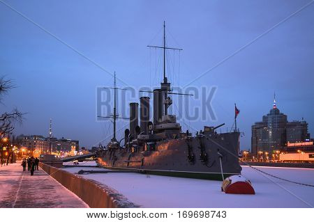 Cruiser Aurora moored in the Neva River. St. Petersburg.