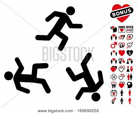 Running Men pictograph with bonus decoration pictograph collection. Vector illustration style is flat rounded iconic intensive red and black symbols on white background.