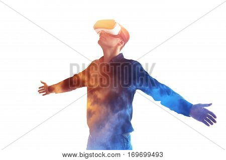 The man with glasses of virtual reality. Future technology concept. Modern imaging technology.