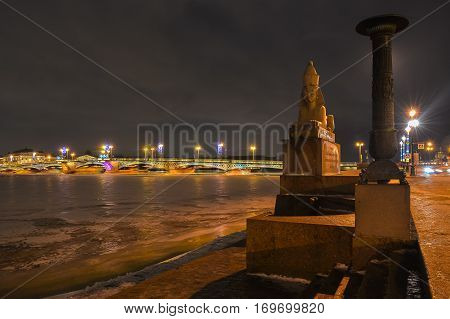 Egyptian Sphinx on the background of the bridge across the river Neva.
