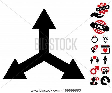 Triple Arrows icon with bonus marriage pictograph collection. Vector illustration style is flat rounded iconic intensive red and black symbols on white background.