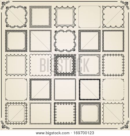 Vintage set of vintage objects. Different vector square elements for decoration and design frames, cards, menus, backgrounds and monograms. Classic patterns. Set of vintage patterns