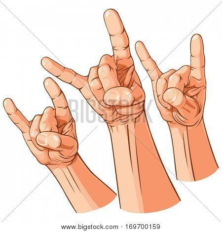 Set of three heavy metal hands (Sign of the horns gesture). Rasterized version