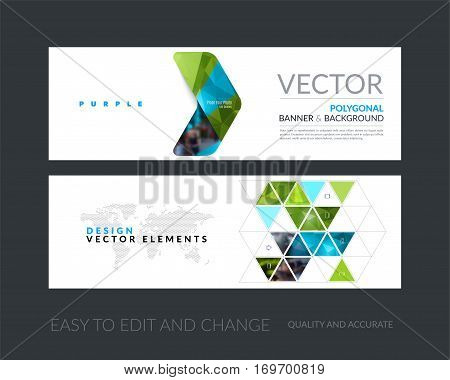 Vector set of modern horizontal website banners with green arrows, triangles for industry, beauty, tech, communication. Clean web headers design with overlay effect.