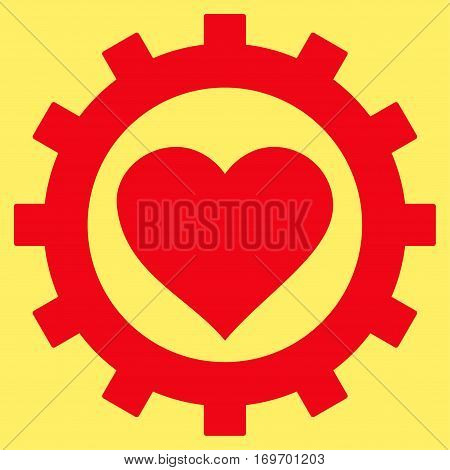 Love Heart Options Gear flat icon. Vector red symbol. Pictogram is isolated on a yellow background. Trendy flat style illustration for web site design logo ads apps user interface.