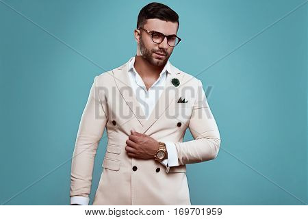 Elegant Brutal Sexy Man In Suit And Glasses