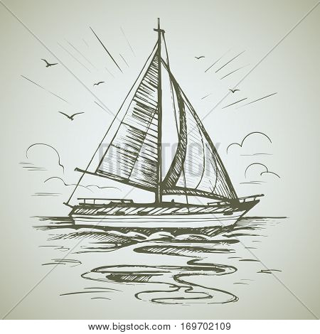 Sailing boat scene vector sketch isolated with reflection. Sea yacht floating on the water surface.