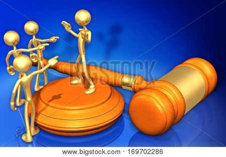 Accused Law Legal Gavel Concept 3D Illustration