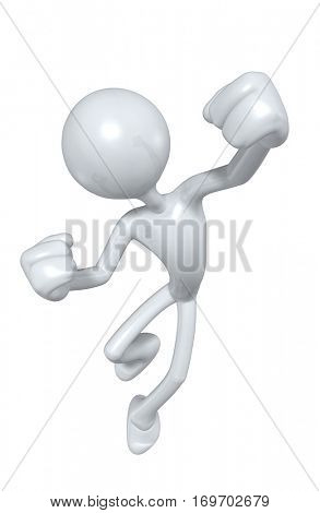 The Original 3D Character Illustration Jumping