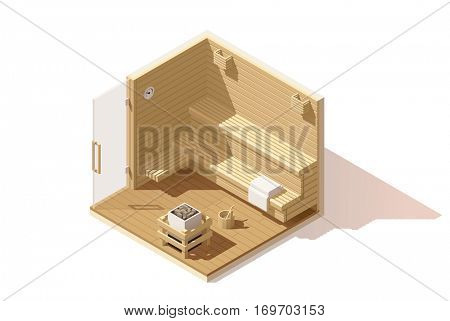 Vector isometric low poly wooden sauna room cutaway icon. Room includes sauna accessories