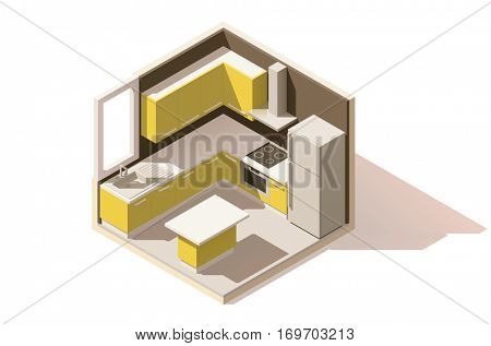 Vector isometric low poly kitchen room icon. Room includes furniture and major kitchen appliances