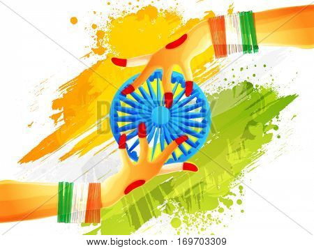 Vector illustration of Indian Women's hands protecting Ashoka Wheel on abstract Tricolours Background for Republic Day celebration.