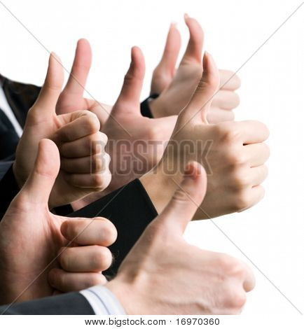 Businesspeople hands showing okay sign