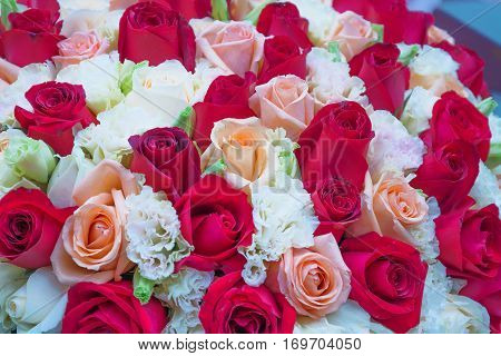 The lush bouquet of roses red and pink