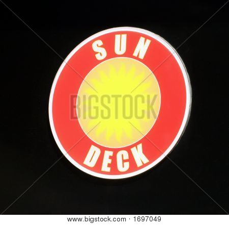 Sun deck level sign on a cruise ship poster
