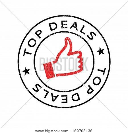 Top Deals rubber stamp. Grunge design with dust scratches. Effects can be easily removed for a clean, crisp look. Color is easily changed.
