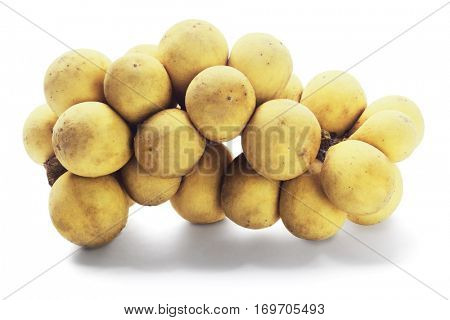 Bunch of Tropical Lanzones Fruit on White Background