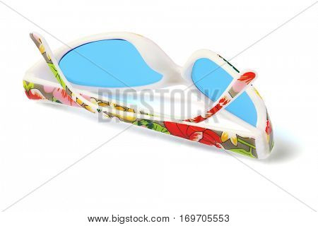 Party Plastic Sunglasses Isolated on White Background.