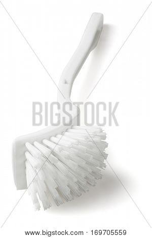 Plastic Toilet Brush Lying on White Background