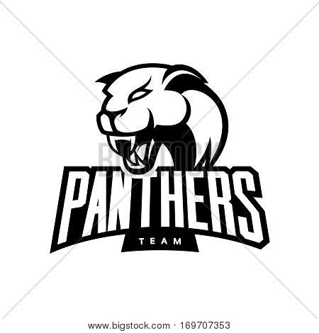 Furious panther sport mono vector logo concept isolated on white background. Web infographic professional team pictogram.Premium quality wild animal t-shirt tee print illustration.