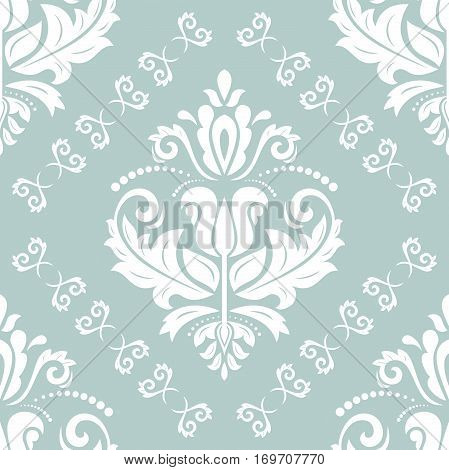 Seamless classic vector light blue and white pattern. Traditional orient ornament. Classic vintage background