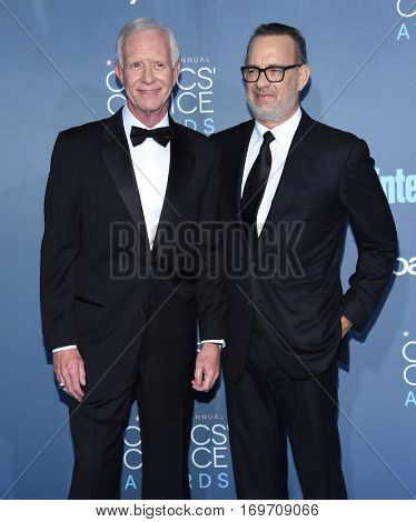 LOS ANGELES - DEC 11:  Chesley Sullenberger and Tom Hanks arrives to the Critics' Choice Awards 2016 on December 11, 2016 in Hollywood, CA
