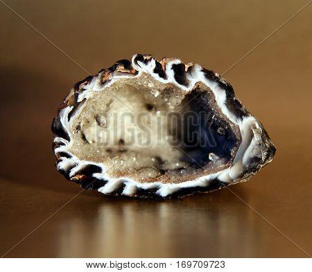 Natural Brazilian agate geode stone macro image