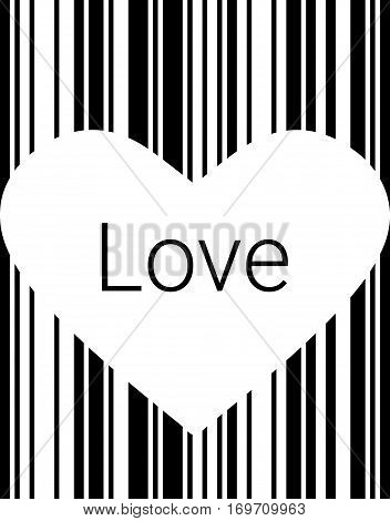 Black Heart Bar Code, Icons And Element For Valentines