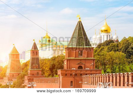 Kremlin towers and golden cupolas in Moscow Russia