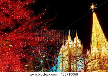 Temple Square Salt Lake City Utah with Christmas Lights Celebration for Christ's Birth