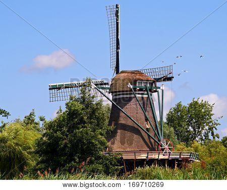 Traditional dutch windmill near Leiden on summer day