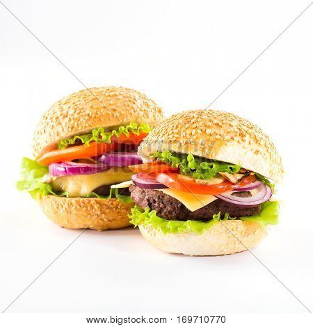 homemade burgers with beef on white background