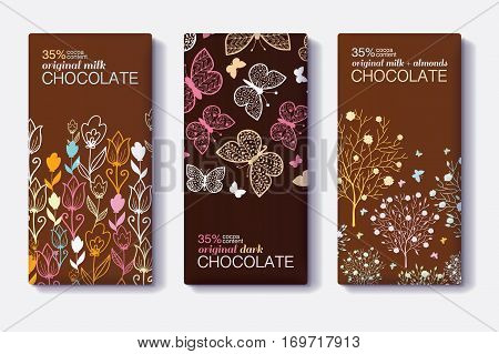 Vector Set Of Chocolate Bar Package Designs With Modern Floral and Butterfly Borders. Milk, Dark, Almond. Editable Packaging Template Collection. Product packaging design.