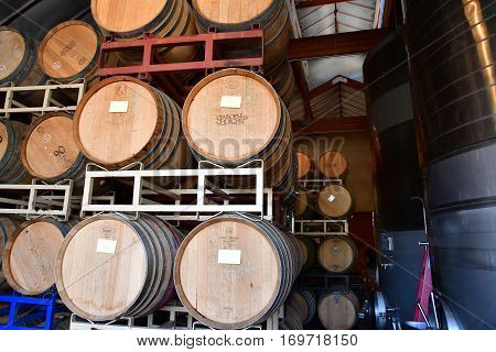 San Luis Obispo USA - july 15 2016 : barrel in the cellar of the Claiborne and Churchhill winery