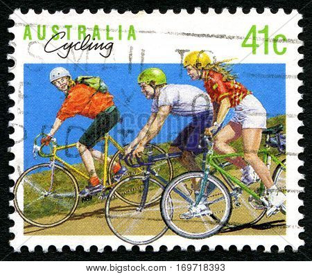 AUSTRALIA - CIRCA 1989: A used postage stamp from Australia depicting an illustration promoting Cycling circa 1989.