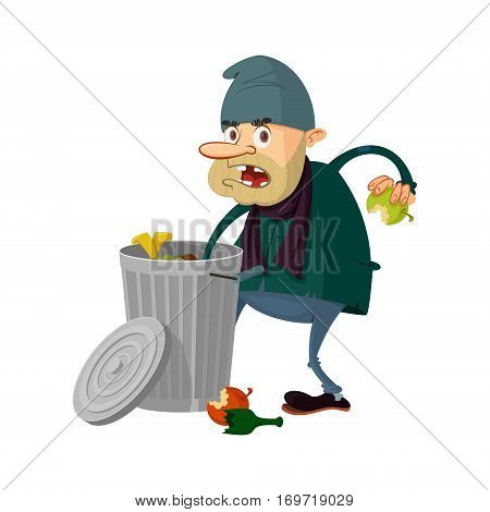 Homeless searching food in trashcan vector illustration