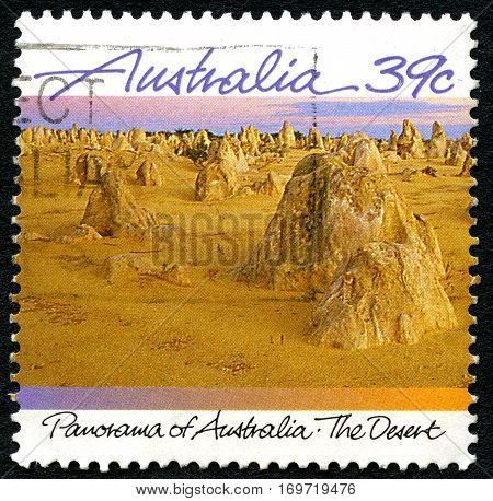 AUSTRALIA - CIRCA 2000s: A used postage stamp from Australia depicting an image of the Australian Desert circa 2000s.