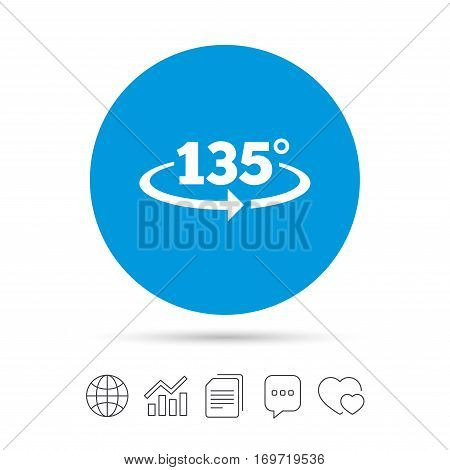 Angle 135 degrees sign icon. Geometry math symbol. Copy files, chat speech bubble and chart web icons. Vector