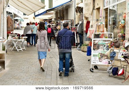 Saint Martin de Re France - september 27 2016 : shops in the city center