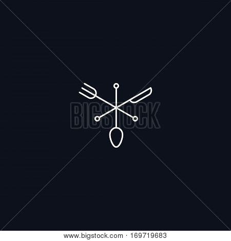 Line Symbol, Fork, spoon and knife, restaurant concept, vector design element
