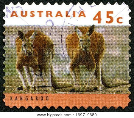 AUSTRALIA - CIRCA 1994: A used postage stamp from Australia depicting an image of Kanagroos circa 1994.
