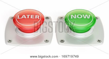 now and later push button 3D rendering isolated on white background