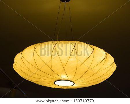 Rattan lamp hang in ceiling