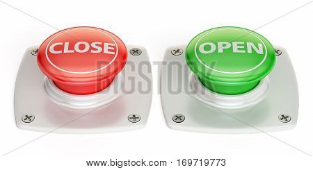 open and close push button 3D rendering isolated on white background