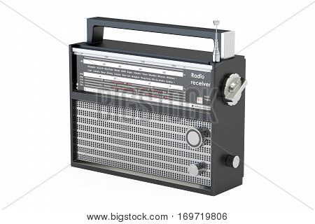 radio receiver closeup 3D rendering isolated on white background